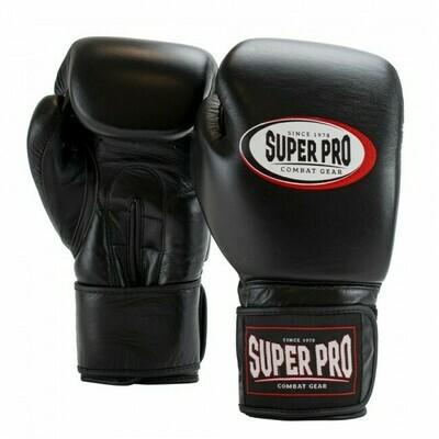 SUPER PRO COMBAT GEAR THAI-PRO LEATHER (THAI) BOXINGGLOVES BLACK