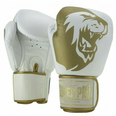 SUPER PRO COMBAT GEAR WARRIOR LEATHER KICKBOXING GLOVES WHITE/GOLD