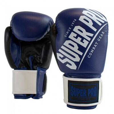 SUPER PRO COMBAT GEAR GANTS DE (KICK) BOXE REBELLE BLEU/NOIR/BLANC