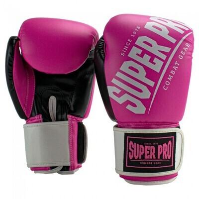 SUPER PRO COMBAT GEAR GANTS DE (KICK) BOXE REBELLE NOIR/ROSE/BLANC