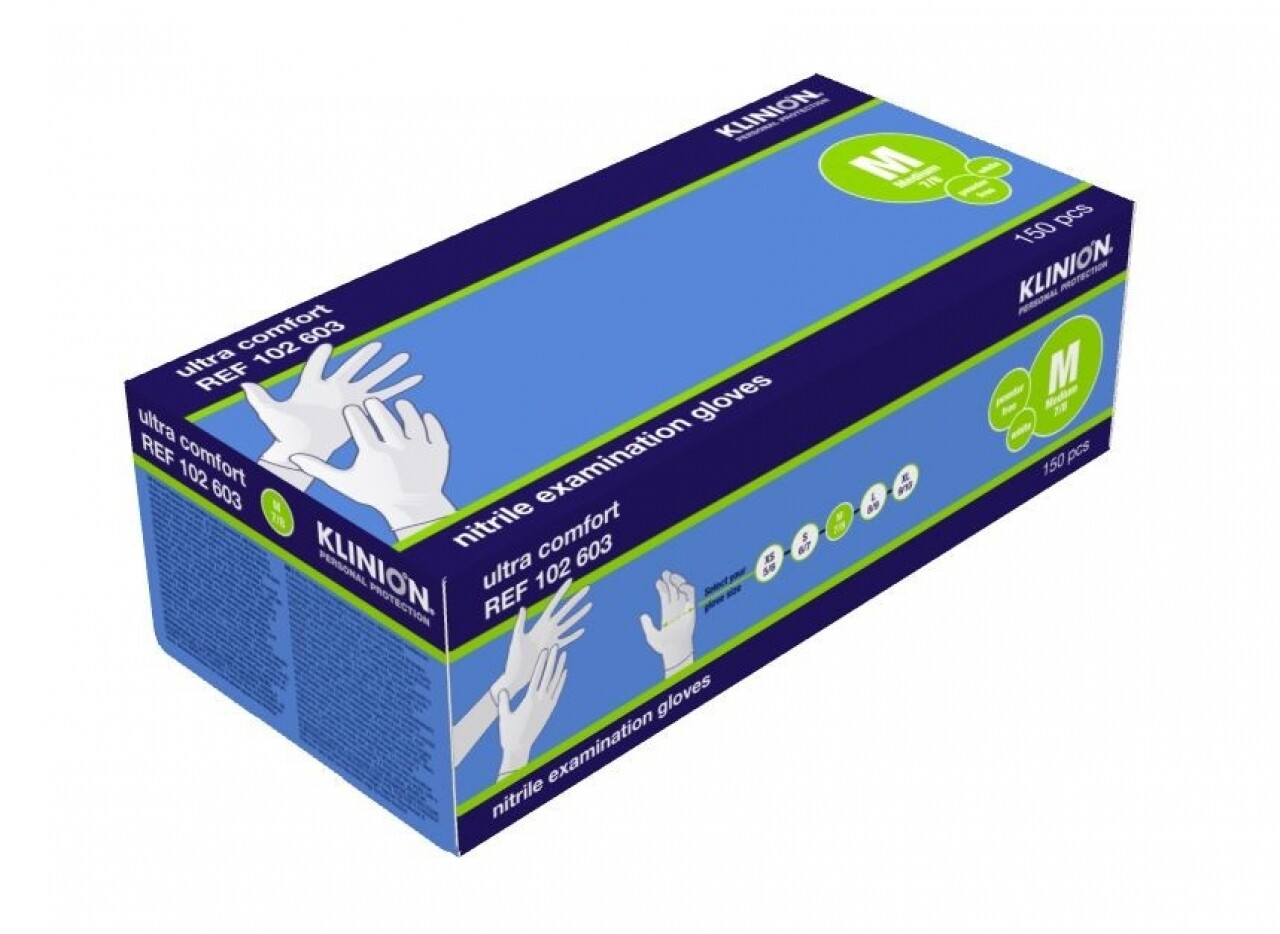 HANDSCHOEN KLINION NITRILE Medium WIT 150st