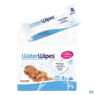WaterWipes Vochtige Babydoekjes Economy Pack 4x60
