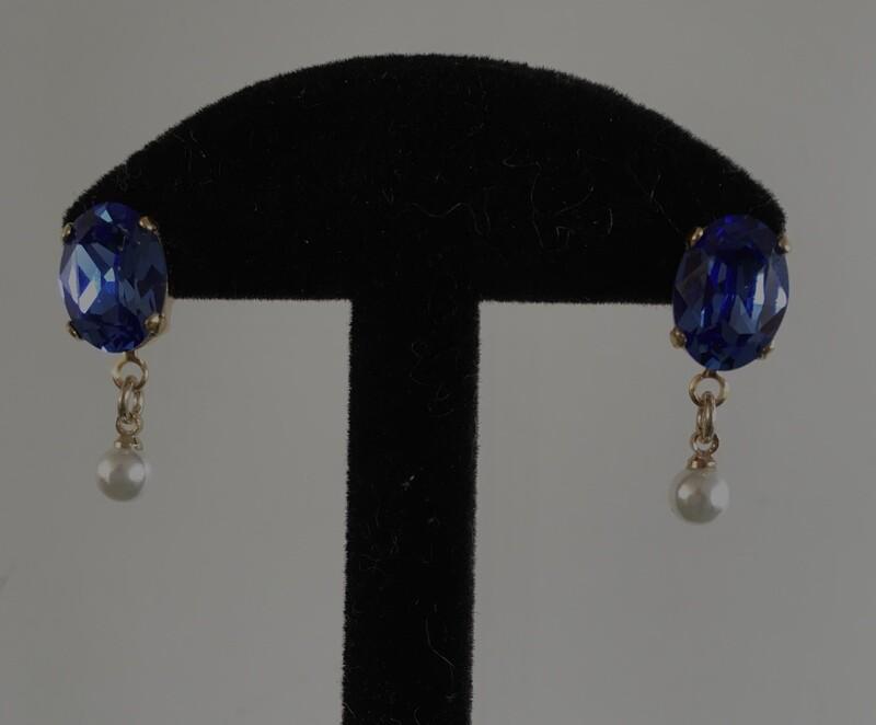 Blue crystal Pearl drop
