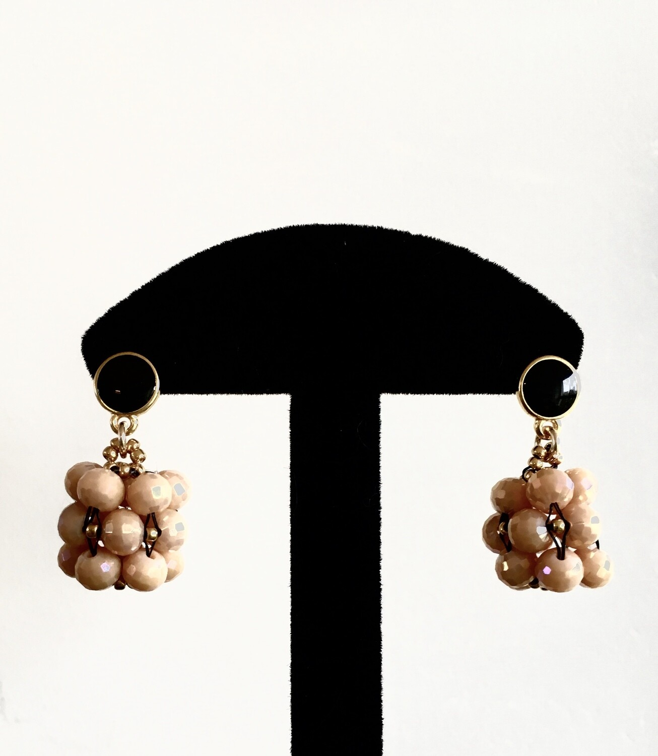 Pink beaded ball earrings