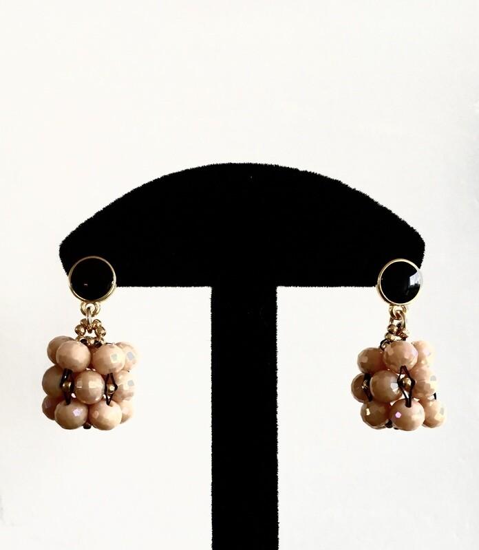 Pink beaded ball earrings