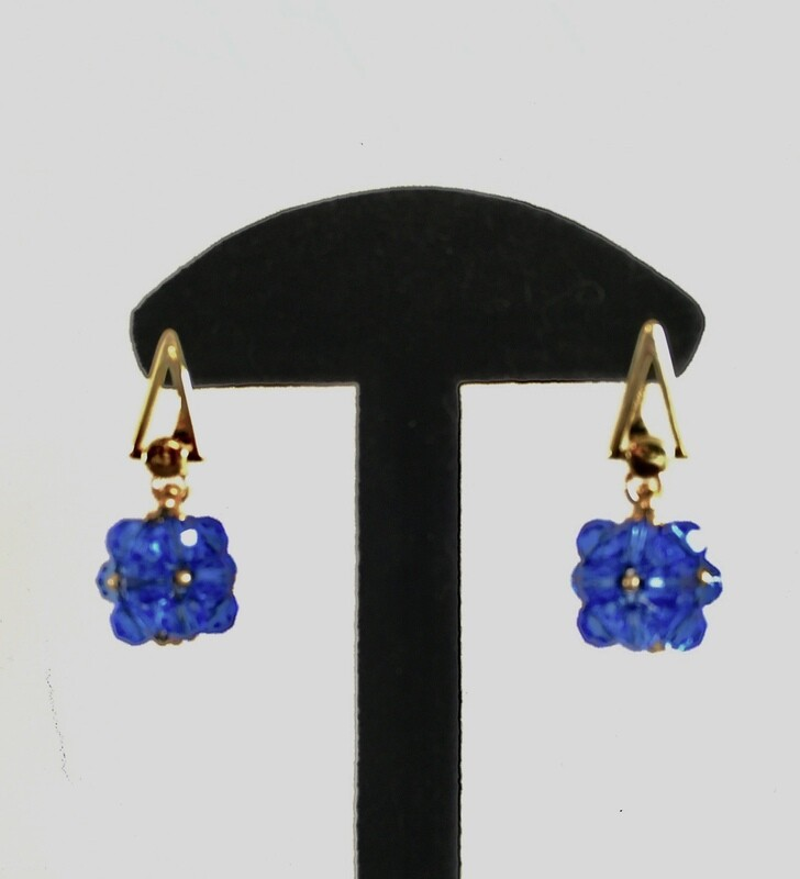 Blue beaded ball earrings