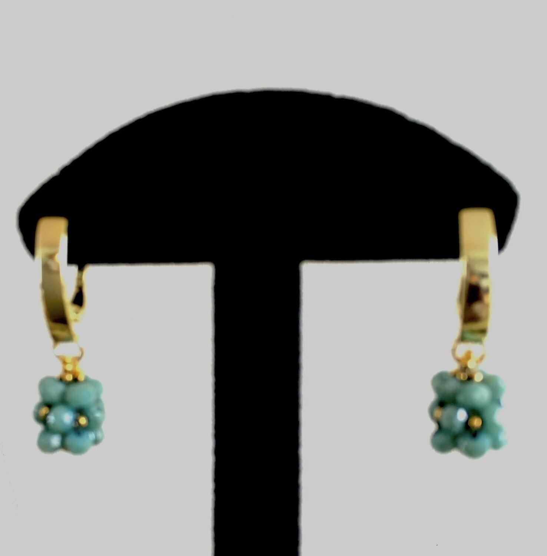 Green beaded ball earrings