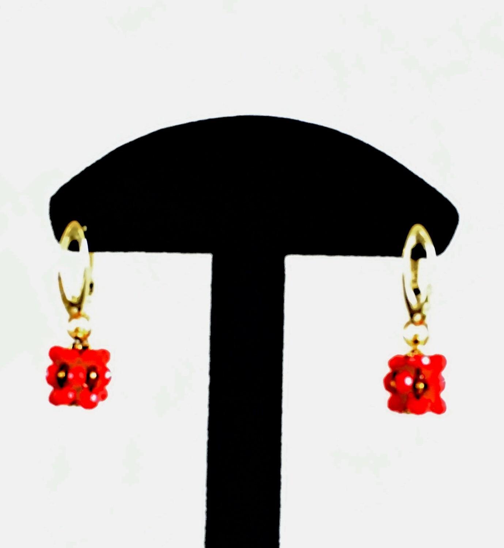 Short red beaded ball earrings