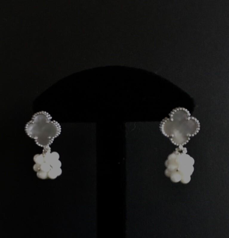 White beaded ball earrings