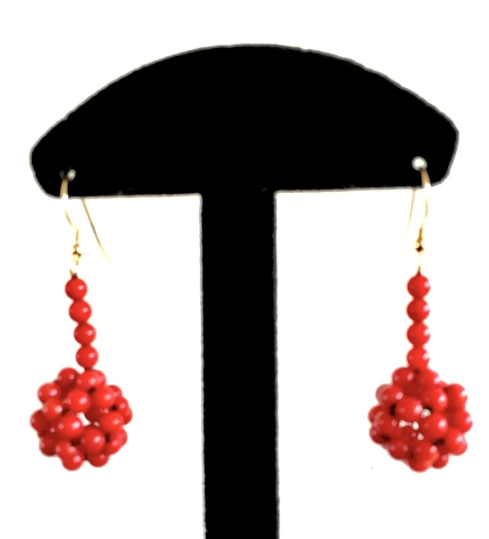 Long red beaded ball earrings
