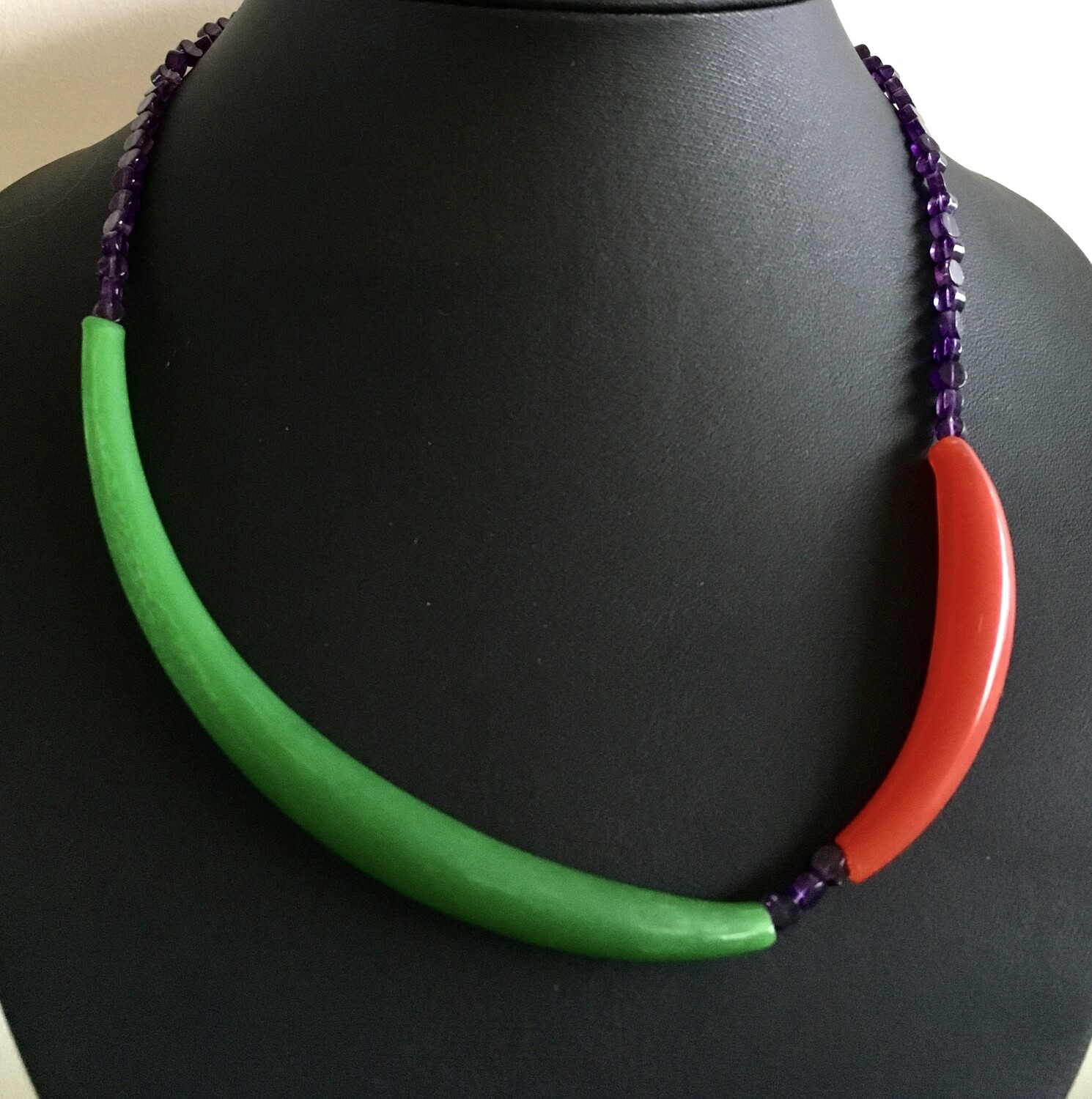 Red / Green Murano glass necklace