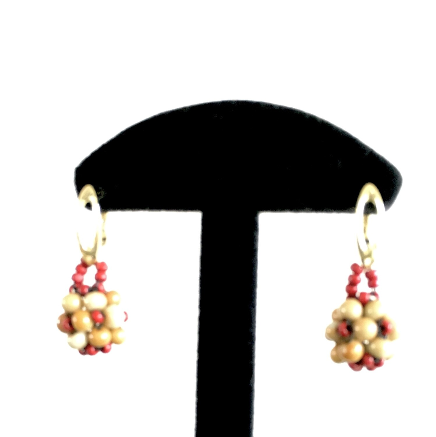 Red/cream beaded ball earrings