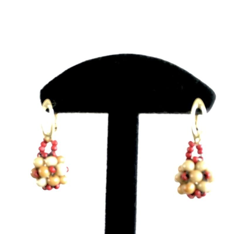Red/cream beaded ball earrings