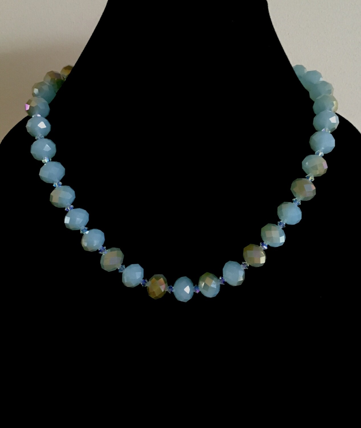 Blue/ brown faceted beads necklace ( with Swarovski crystal spacers)