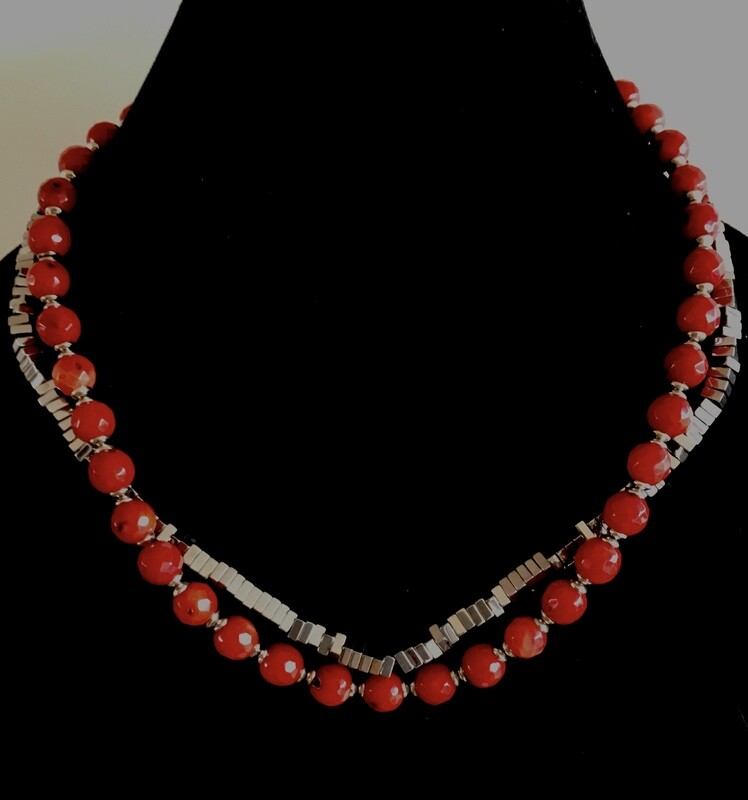 Red glass and silver plated cubed beads necklace