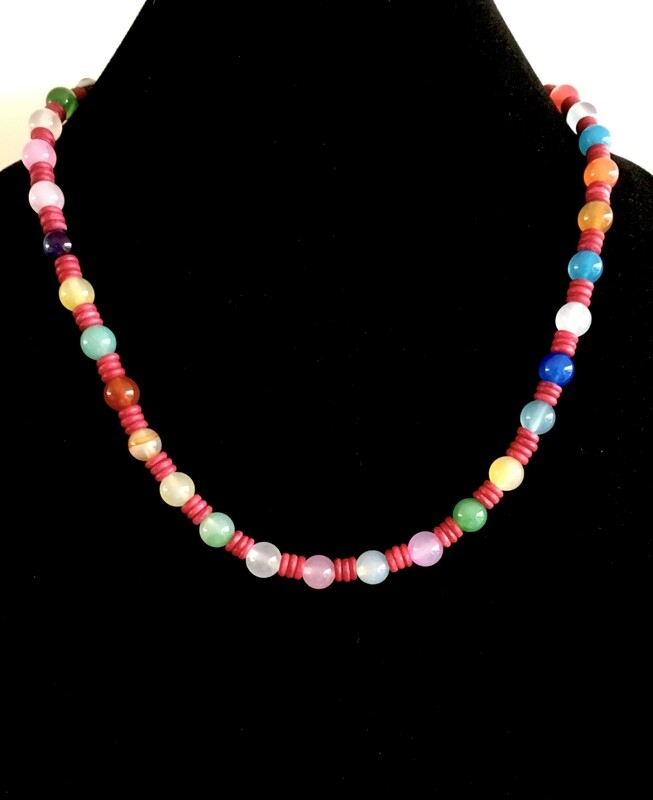 Multi- coloured Agate necklace ( with glass bead spacers)