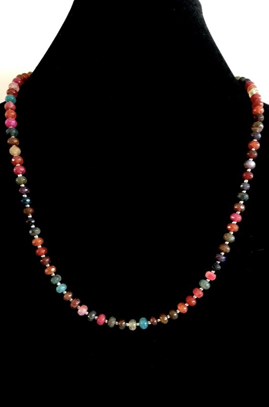 Multi-coloured agate necklace ( with silver bead spacers)