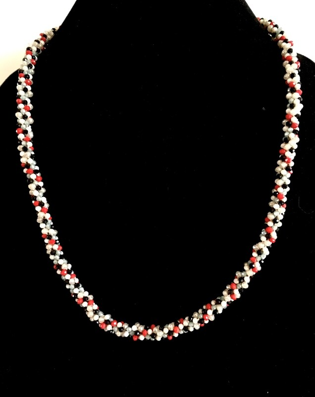 White,red and black Kumihumo necklace