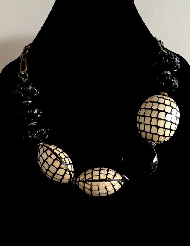 Black glass and seed  beads necklace ( with large bronze chain)