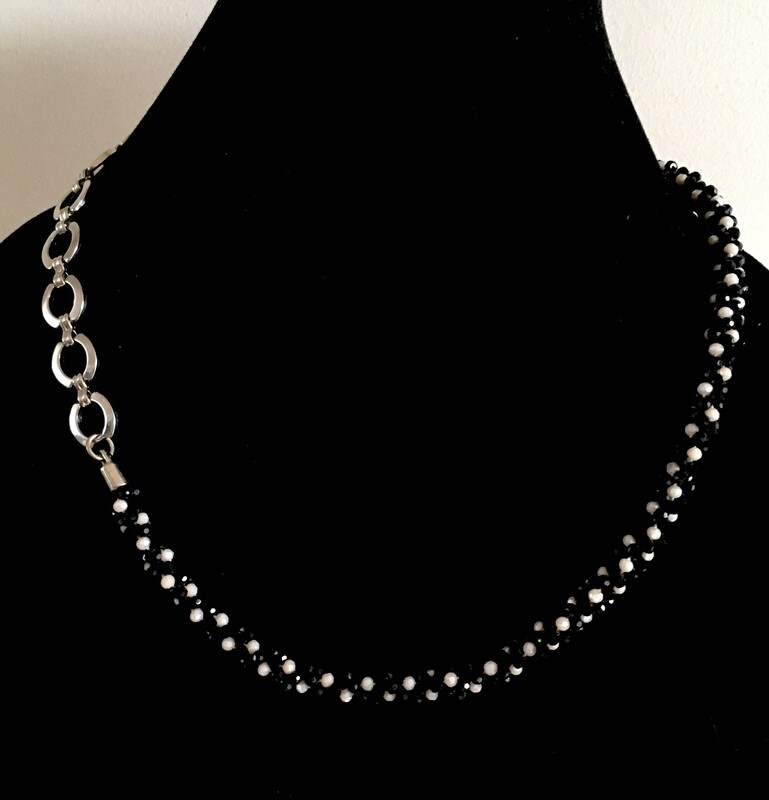 Black and white Kumihumo and silver plated chain necklace