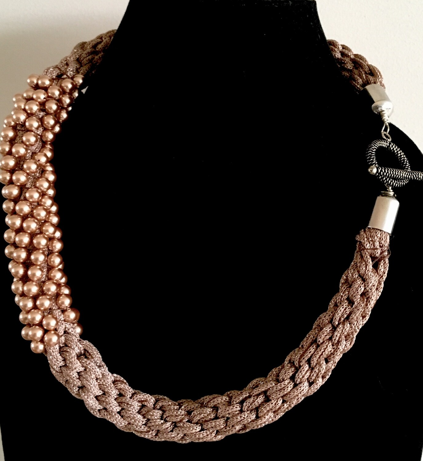 Woven silk cord and bead necklace