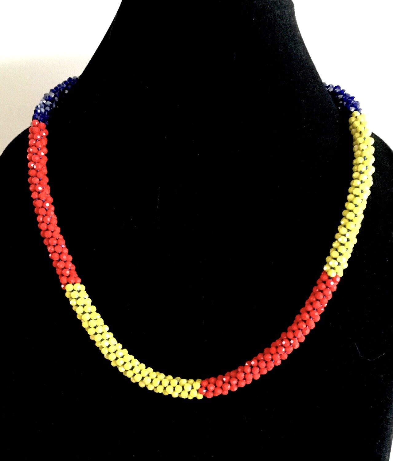Blue,yellow and red Kumihumo necklace