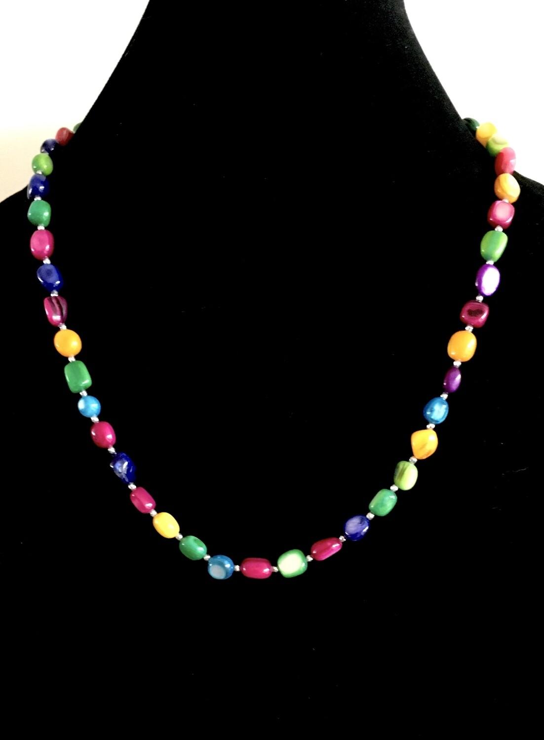 Candy coloured glass beads necklace (with silver beads spacers)