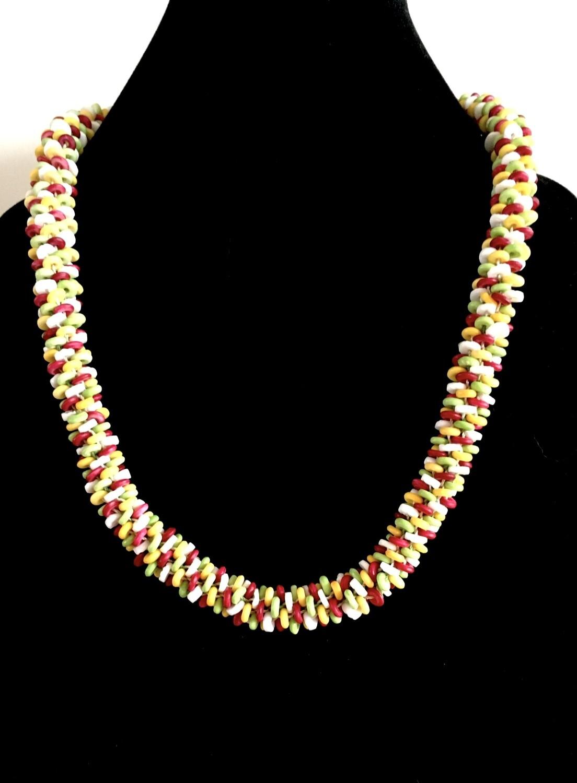 Multi-coloured flat beads Kumihumo necklace