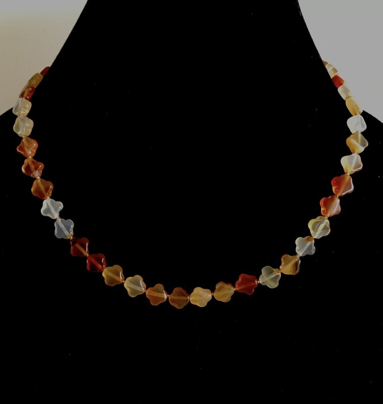 Multi-coloured opaque glass bead necklace
