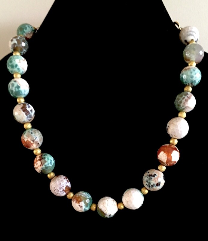 Multi-coloured large faceted agate beads necklace