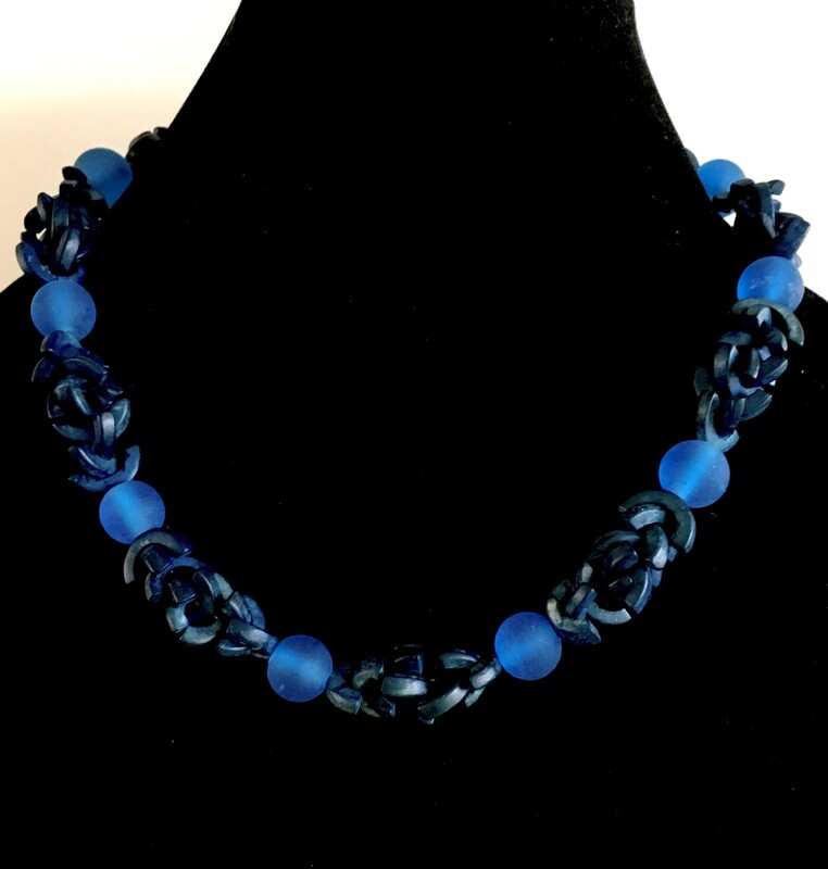 Blue glass and curved wood beads necklace