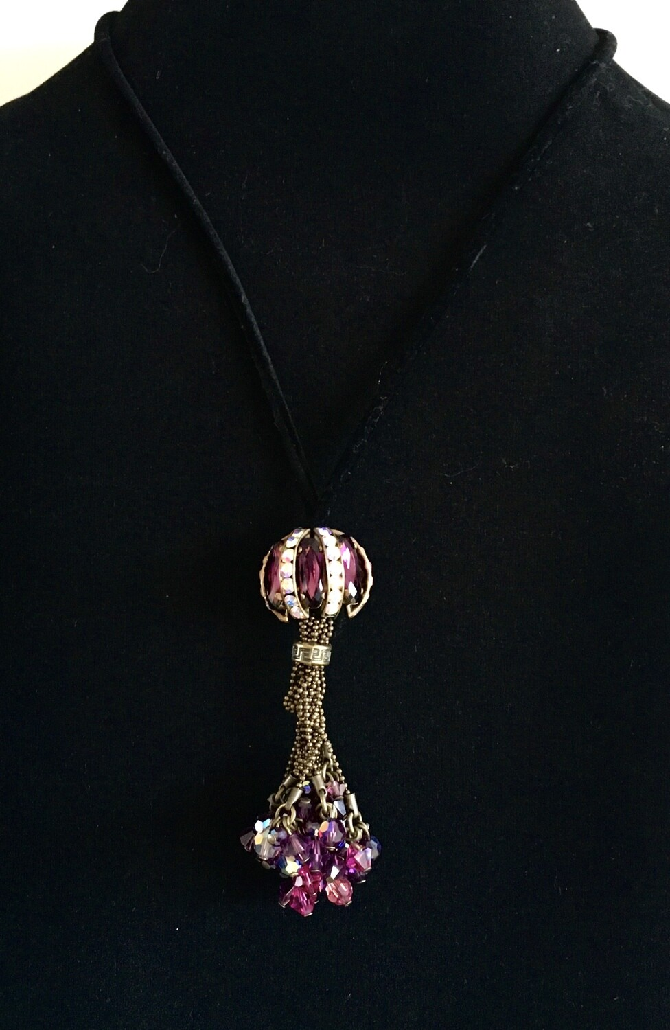 Black cord necklace ( with Swarovski ball and gold plated chain pendant)