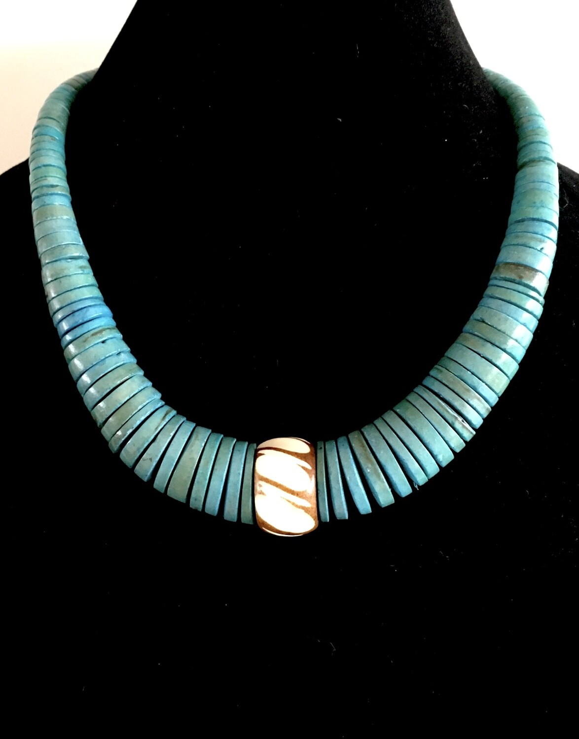 Turquoise blue flat wood beads necklace ( with bone bead pendant)