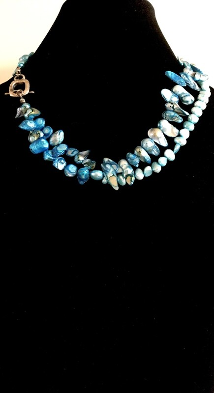 Double strand turquoise Pearl necklace