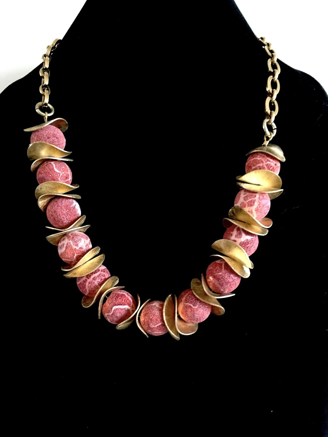 Rose coloured agate necklace ( with gold plated spacers)