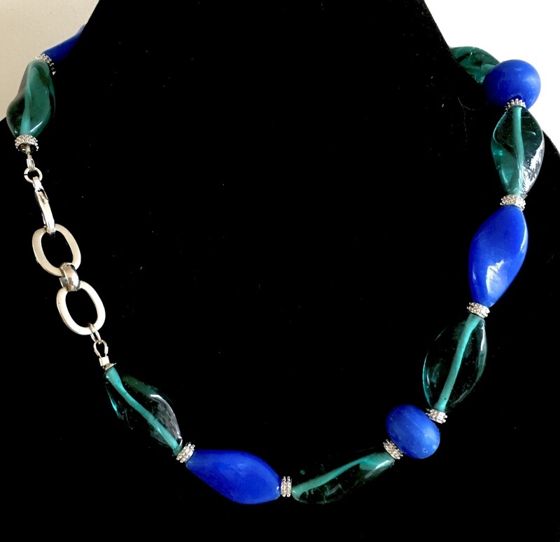 Blue/ green twisted beads necklace ( with silver spacers)