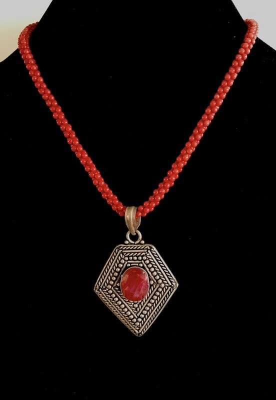 Red beads necklace ( with Moroccan silver and beads pendant)