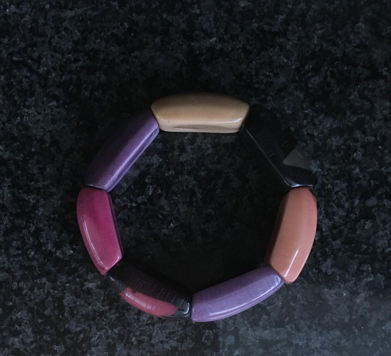 Multi-coloured  large wood bracelets