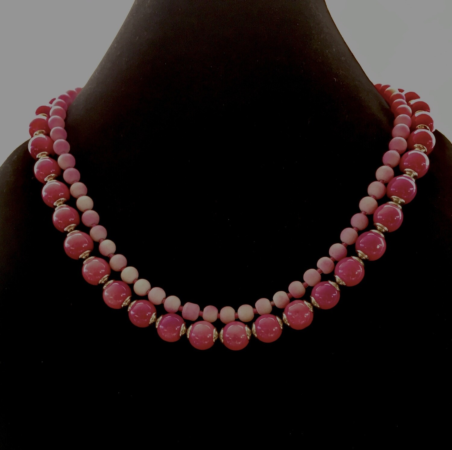 2 strands pink beads necklace with silver spacers