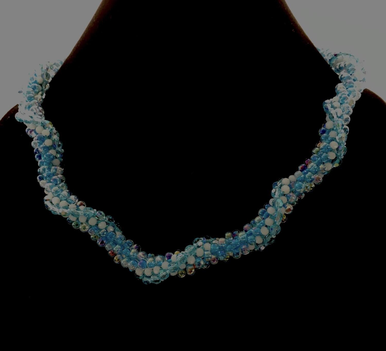 Light blue twisted Kumihumo necklace
