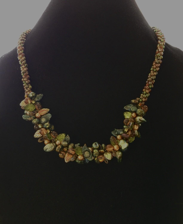 Green leaf cluster Kumihumo necklace