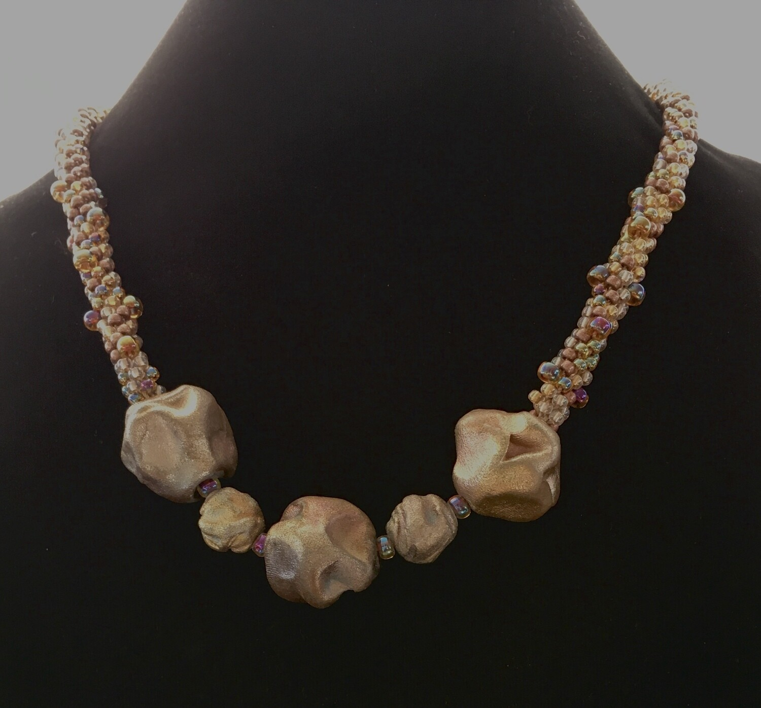 """Brown Kumihumo necklace with large """"pebble """" beads"""