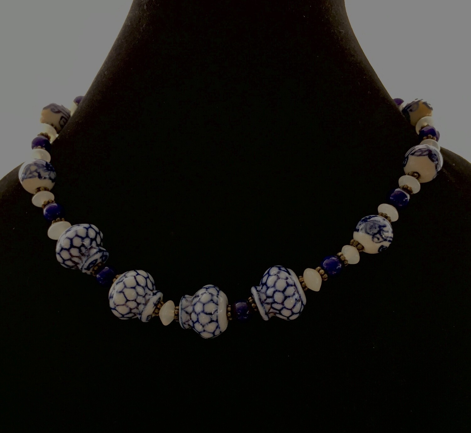 Ultramarine blue delft styled necklace