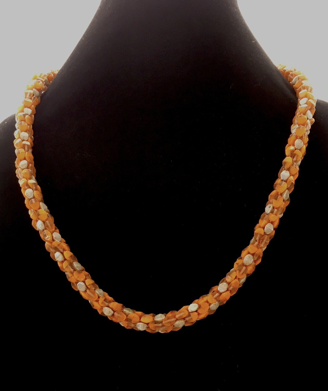 Orange Kumihumo necklace