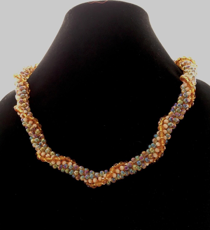 Orange vine twisted Kumihumo necklace