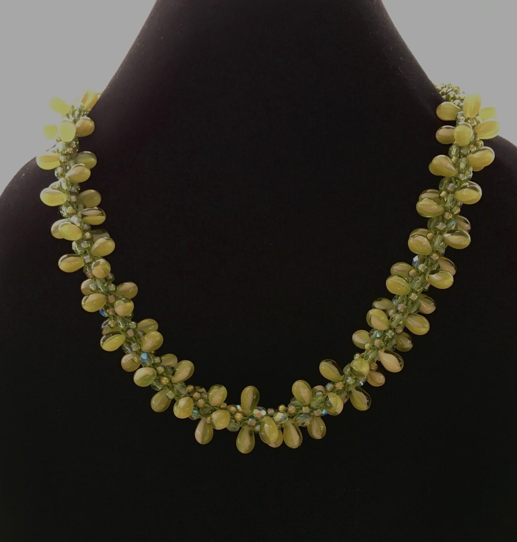 Green drop beads Kumihumo necklace