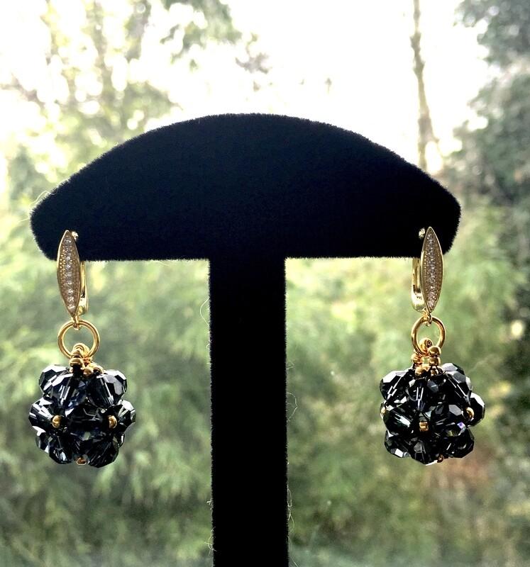 Black beaded ball earrings