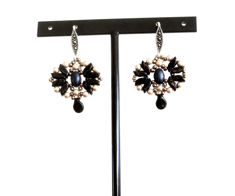 Onyx star earrings
