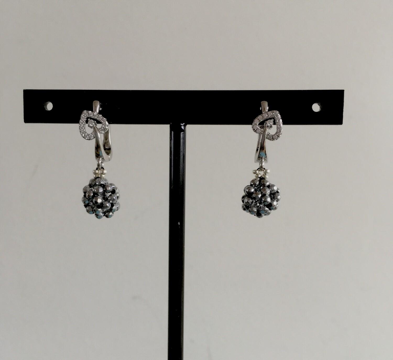 Hermatite heart earrings