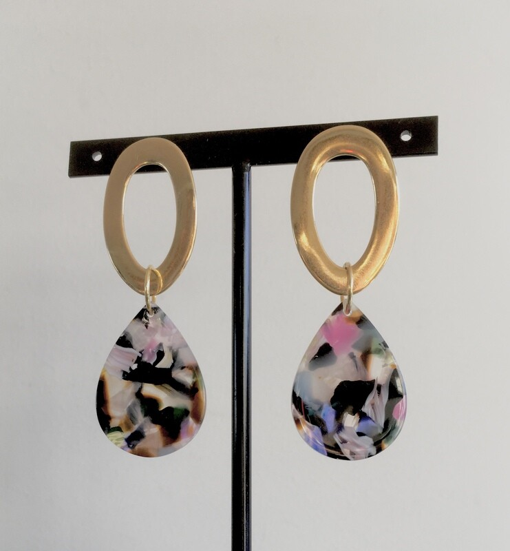 Gold hoops and lavender marble earrings